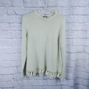 J Mclaughin large tassel sweater tan metallic